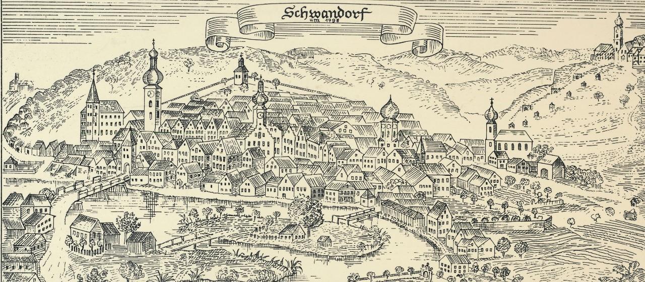 Schwandorf um 1798 Kupferstich